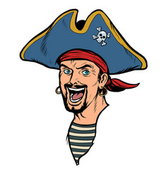 A man pirate carnival costume with hat vector