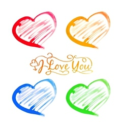 Abstract watercolor hearts set vector image