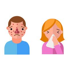 Allergy symbols disease healthcare characters vector