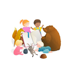 bear fox rabbit animals reading a book with little vector image