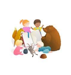Bear fox rabbit animals reading a book with little vector