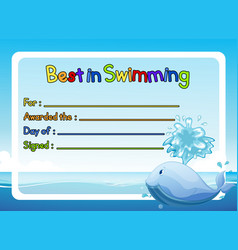 Best in swimming award template with whale in vector