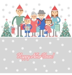 Big happy family with Christmas gifts in hands vector