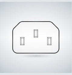 black grey electrical power socket for computer vector image