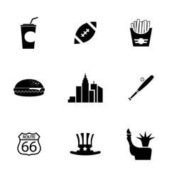 black USA icons set vector image