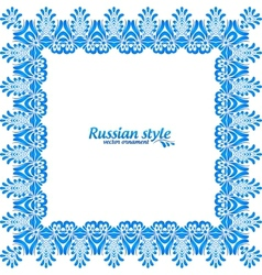 Blue floral vintage frame in gzhel style vector