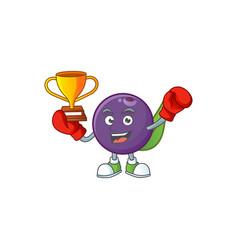 Boxing winner acai berries character for fresh vector