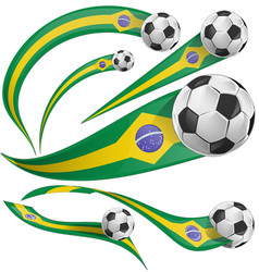 brazil flag element with soccer ball vector image