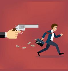 Businessman running away from gunman vector