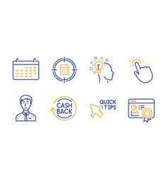 Calculator target idea and touchpoint icons set vector