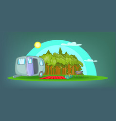 camping horizontal banner picnic cartoon style vector image