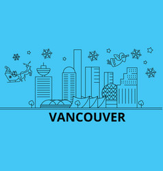 canada vancouver winter holidays skyline merry vector image