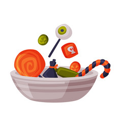 candies and sweets on plate happy halloween vector image