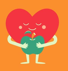 Cartoon Heart Holding an Apple vector image