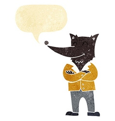 Cartoon wolf in shirt with speech bubble vector