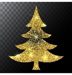 Christmas tree gold glitter background Eps vector image