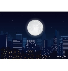 City in the night Cityscape night silhouette with vector image