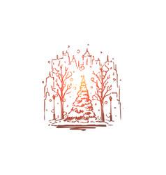 city winter street tree snow concept vector image
