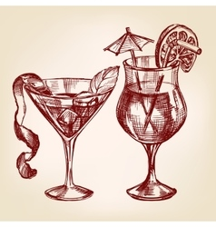 Cocktail set hand drawn llustration vector image