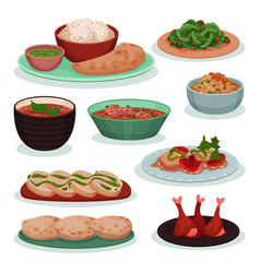 collection of delicious indian food thali green vector image