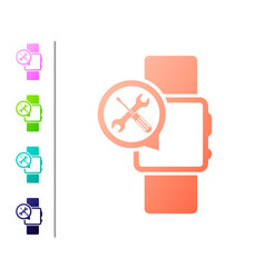 Coral smartwatch with screwdriver and wrench icon vector