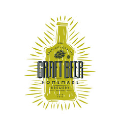 Craft beer bottle and typographic emblem vector