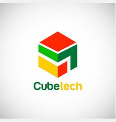 Cube technology logo vector