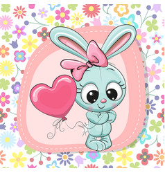 cute cartoon rabbit girl with balloon vector image