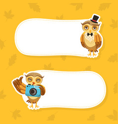 cute owls with place for your text set funny vector image