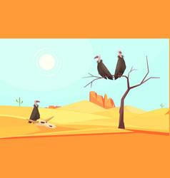 Desert birds landscape composition vector