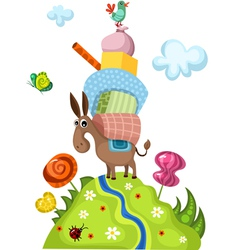 Donkey with gifts vector