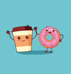Donut and coffee characters icon vector image