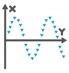 Dotted Sine Plot Flat Symbol vector