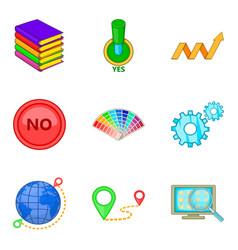 Edition icons set cartoon style vector
