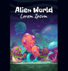 Fantasy cartoon alien world landscape vector