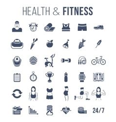 Fitness gym and healthy lifestyle flat silhouettes vector image