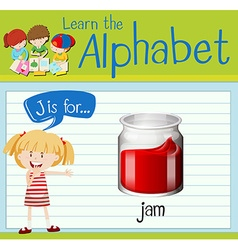 Flashcard letter j is for jam vector