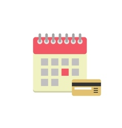 Flat style calendar icon with bank card vector