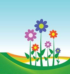 flower on blue background vector image