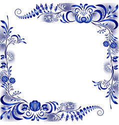 Frame with corner floral blue patterns in the vector