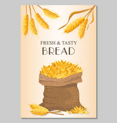 fresh tasty bread banner with sack of wheat vector image