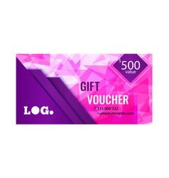 gift voucher bright design with pink background of vector image