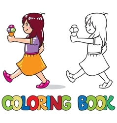 Girl with ice cream Coloring book vector image