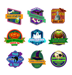 Halloween holiday party trick treat icons vector
