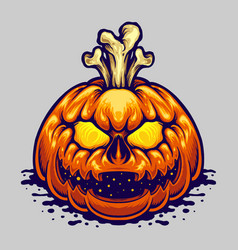halloween jack o lantern bones vector image