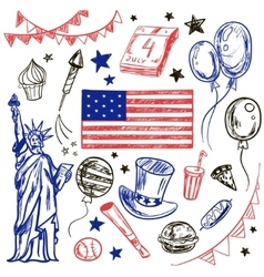 Happy Memorial Day American themed doodle set vector