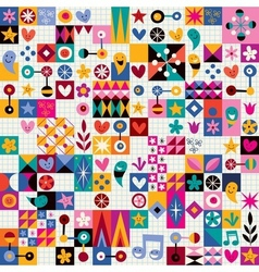 Hearts stars and flowers abstract art pattern vector