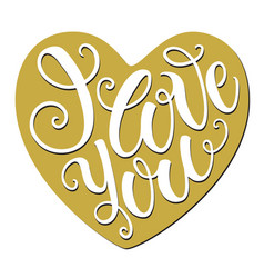 i love you doodle heart shaped hand lettering vector image