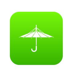 Inside out umbrella icon green vector