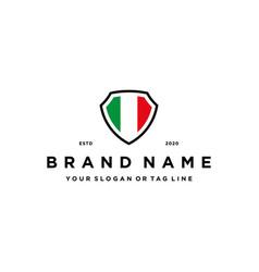 Italy flag shield logo design vector